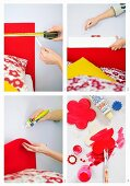 Four steps for making a bed headboard out of felt with red-painted flowers