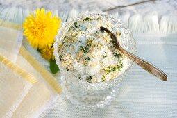 Dandelion salt made from fleur de sel and dandelion petals and leaves