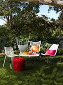 Garden furniture arranged for a summer party