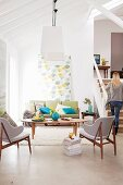 Bright accents of colour in the living room