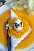 Place setting decorated for Easter