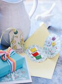 Egg-shaped sewing set as small Easter present