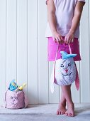 Hand-sewn fabric bags with Easter bunny motifs