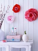 Tissue paper flower decorations on wall for Easter