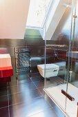 Modern bathroom in attic of architect-designed house