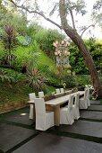 Stühle mit weisser Husse um Holztisch auf Terrassen Platz in tropischem Garten