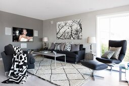 Charcoal seating area with graphic patterns on cushions and blanket; flatscreen TV showing film and poster of trees on wall