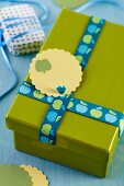 Green gift box decorated with ribbon and tag
