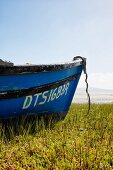 Detail of blue-painted boat on grassy shore next to beach
