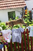 Cat walking across T-shirts with hand-sewn animal motifs on garden fence