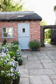 Flowering, potted plants on grey stone flags in front of brick cottage