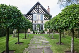 Avenue of trees lining paved garden path leaning to English half-timbered house