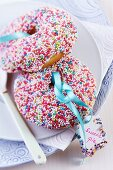 Donuts with colourful sugar sprinkles