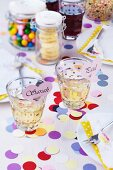 Confetti scattered on party table