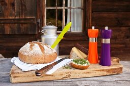 Neon salt and pepper mills on breadboard in front of mountain cabin