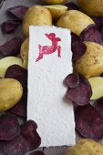 Potato print - paper stamped with animal print lying on potatoes and purple crisps