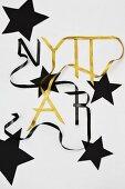 New Year arrangement of ribbons & stars