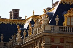 The roof of the Palace of Versailles, partially gilded with sculptures