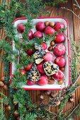 Auflaufform gefüllt mit Äpfel und Vogelfutter als Gartendeko
