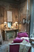 A sales exhibition with an antique, lounger upholstered in purple; small items of furniture and accessories in an old French country house
