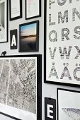 Gallery of letters, typefaces and various black-framed illustrations