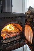 Wood-burning stove with open door