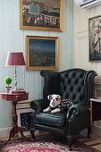 Dog on black leather armchair next to delicate, antique side table below gilt-framed pictures on white-painted wooden wall