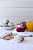 Bowl of natural dyes for dying eggs