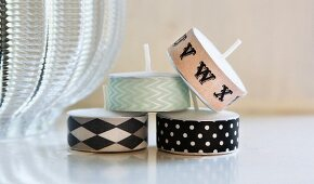 Tealights decorated with washi tape