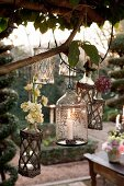 Tealight holders and lit candle lanterns hanging in tree