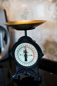 Antique kitchen scales with brass pan
