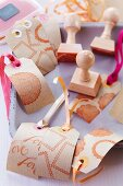 Hand-crafted kraft paper tags printed with stamped motifs