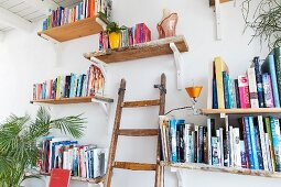Bookshelves in white wall and wooden ladder