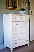 White-painted chest of drawers against grey-painted wall