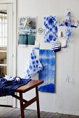 Indigo-blue batik fabric on wall
