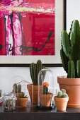 Modern artwork above collection of cacti on sideboard