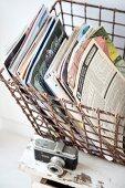 Magazines in vintage wire basket