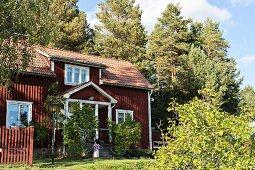Rotbraun gestrichenes Holzhaus in sommerlichem Garten