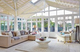 Pale sofa set in conservatory
