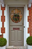 Christmas wreath on front door