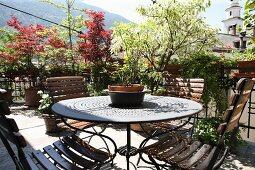 Topfpflanze auf rundem Metalltisch, auf sonniger Terrasse