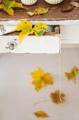 Autumn leaves on open table drawer and on floor