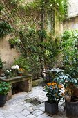 Potted plants, stone bench, table and two chairs in planted courtyard