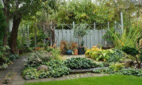 Autumn garden with many different flowerbeds