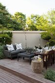 Comfortable, lounge-style seating area on wooden deck