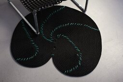 DIY black rope rug with turquoise pattern