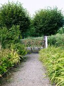 Gravel path in garden and view of rustic garden gate
