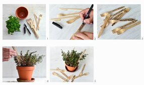 Making plant labels from disposable wooden cutlery