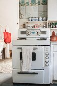 Vintage-style white cooker