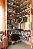 L-shaped bookcase made from reclaimed boards